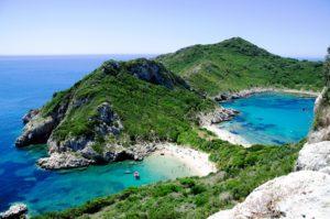 pláž na Korfu